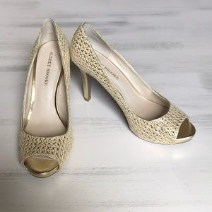 Audrey Brooke gold open toe heels